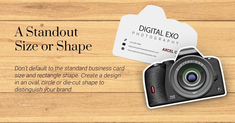 انتخاب یک اندازه یا شکل معمولی کارت ویزیت